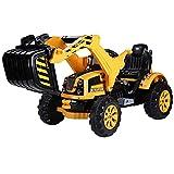 Homcom Elektro Radlader Traktor für Kinder Bagger Auto Spielzeug Geschwindigkeit: 2.5KM/H in PP, gelb und schwarz, 150x 62x74cm
