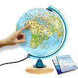 Interkart Kinder-Globus - 25cm Globus mit Holzfuß, Deutsches Kartenbild mit vielen Abbildungen für Kinder mit LED Leuchte mit Buch