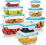 KICHLY Glasbehälter mit deckel - 18 Teile (9 Behälter & 9 Deckel) - Glas-Frischhaltedosen Spülmaschinen, Mikrowellen & Gefrierschrankfreundlich - Auslaufsicher, BPA-frei, FDA & FSC zugelassen