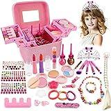 balnore Kinderschmink Set Waschbar Kosmetikset Schminkkoffer Kinder Prinzessin Kosmetikset Mädchen Rollenspiel Spielzeug Geschenk ab 3 4 5 Jahre