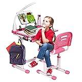 DREAMADE Kinderschreibtisch-Set Neigungsverstellbar Höhenverstellbar, Kindertisch Schreibtisch mit Stuhl und Tischlampe, Schülerschreibtisch Computertisch Schreibtisch Set für Mädchen&Jungen (Pink)