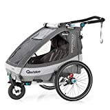 Qeridoo Sportrex2 (2020/2021) Fahrradanhänger 2 Kinder, einstellbare Federung - Grau