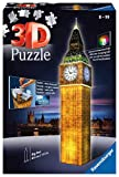 Ravensburger 3D Puzzle 12588 - Big Ben bei Nacht - Bauwerk im Miniatur-Format, 3D Puzzle für Erwachsene und Kinder ab 8 Jahren, Leuchtet im Dunkeln