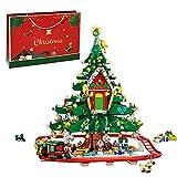 WWEI Bausteine Weihnachtsbaumhaus & Weihnachtszug, 2126 Teile Bauset Adventskalender, Kompatibel mit Lego 30576 Weihnachtsbaum