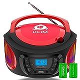KLIM Boombox Radio mit CD Player. FM-Radio, CD Player, Bluetooth, MP3, USB, AUX + Inklusive wiederaufladbaren Akkus + Kabelgebundene und kabellose Modi + Kompakt und robust + Neue 2021 + Rot