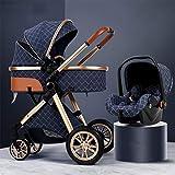 TXTC 3 In 1 Kinderwagen Wagen Klappbar Luxus-Kinderwagen Buggy-Spaziergänger Stoßdämpfung Federn High View Pram Baby-Spaziergänger Mit Mama Beutel Und Regen-Abdeckung hiswet (Color : Blue)