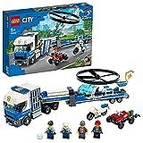LEGO 60244 City Polizeihubschrauber-Transport, Bauset mit LKW, Quad und Motorrad, Polizei Spielzeug