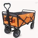 QuRRong Bollerwagen Folding Wagon Trolley Camping Wagen mit Bremse Freistehende zusammenklappbaren beweglichen Druck Wagon für Garden Beach (Farbe : As Shown, Size : 90x50x100cm)