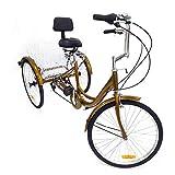 SHIOUCY 24' 3 Rad Erwachsene Fahrrad Dreirad Cruise Tricycle Trike + Korb + Kopflicht, 6 Geschwindigkeit Korb Dreirad Pedal Warenkorb Lastenfahrrad (Gold)