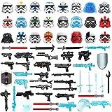 JIKE Custom Militär Helm Und Waffen Set,Minifiguren Maske,Helm Und Laserschwertern,Sci-fi Waffe Set Kompatibel Mit Star Wars Lego Figuren Soldaten-65Teil