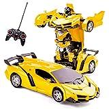 Highttoy Verformung Ferngesteuertes Auto für Kinder im Alter von 5-12, Transformers Spielzeug für Jungen Mädchen 2 in 1 Transformers RC Auto Transformieren RC Roboter Auto Spielzeug für Kinder Gelb