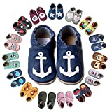 HOBEA-Germany Krabbelschuhe für Jungs und Mädchen in verschiedenen Designs, Kinderhausschuhe Jungen, Lederschuhe, Schuhgröße:20/21 (12-18 Monate), Modell Schuhe:Anker auf dunkelblau