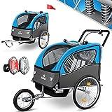 KIDIZ® 3in1 Fahrradanhänger Jogger Kinderanhänger Joggerfunktion Kinderfahrradanhänger für 1 bis 2 Kinder 5-Punkt Sicherheitsgurt inkl. Fahne und LED-Lichtern max. 70kg Fahrrad Anhänger, Blau