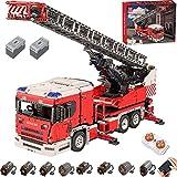 Technik Große Feuerlöschleiter LKW Bausatz, Mould King 17022, 4886 Teile Technik LKW Feuerwehr mit Kran Bausteine,mit 8 Motoren, Kompatibel mit Lego
