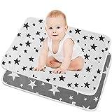SunTop 2 Stück Waschbare Wickelunterlage für Babys und Kleinkinder - Atmungsaktiv, Waschbar, Wiederverwendbare Urin Matte Abdeckung fürs Kleinkind Jungen Mädchen- 50 * 70 cm