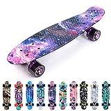 meteor Skateboard Kinder - Mini Cruiser Kickboard - Skateboard mädchen Rollen Board - Kunststoff Skateboards Deck - Retro Skateboard Jungen Mini Board - Skateboard Kinder miniboard (V-Galaxy)