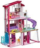Barbie GNH53 Traumvilla Dreamhouse Adventures Puppenhaus mit 3 Etagen, 8 Zimmer, Pool mit Rutsche und Zubehör, ca. 116 cm hoch, mit Lichter und Geräuschen, Spielzeug ab 3 Jahren