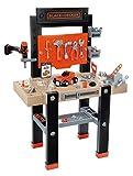 Smoby 360701 – Black+Decker Werkbank Center – mit viel Zubehör, mechanischem Akkuschrauber, Autobausatz, Lern-App, für Kinder ab 3 Jahren