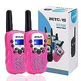 Retevis RT388 Walkie Talkie Kinder PMR446 8 Kanäle Kinder Funkgeräte mit Taschenlampe VOX Walkie Talkie Set Kinder Rosa Geschenke Spielzeug für Kinder (1 Paar, Rosa)