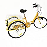 OU BEST CHOOSE 6 Gang 3 Rad Fahrrad, 24' Dreirad für Erwachsene, Einstellbares Trike Cruise Fahrrad mit Korb, für Outdoor Sport Picknick Shopping, (Licht)