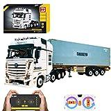 XIAN LKW mit Anhänger, 4478 Klemmbausteine 2.4G ferngesteuerter 4CH LKW mit Motoren, Modellbausatz kompatibel mit LEGO Technic (Truck mit Container)