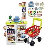 deAO SPMW Kinder-Supermarkt-Spielset mit Einkaufswagen und über 20 Spiel-Lebensmittel-Zubehör, Mehrfarbig