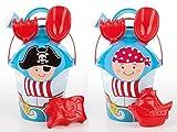 Androni Giocattoli Sandspielzeug Pirat rund mit Pirat Sandform Eimer Schaufel Sieb