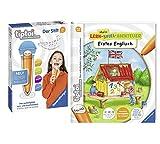 tiptoi® Erstes Englisch Lern-Spiel-Abenteuer Spiralbindung + Ravensburger 00801 Stift - mit Aufnahmefunktion