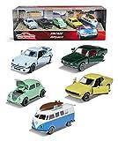 Majorette 212052013 Vintage 5er-Geschenkset, Spielzeugautos mit Freilauf aus Metall, Vintage-Versionen von Ford, Porsche, Renault und VW, bewegliche Teile, 7,5 cm