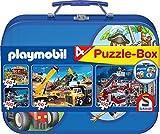 Schmidt Spiele 55599 Playmobil 2, 4 Kinderpuzzle im Metallkoffer, 2x60 und 2x100 Teile