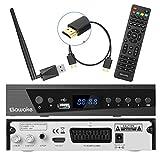 SAT-Receiver, SAWAKE Digital Satelliten Receiver für Deutschland mit HDMI Kabel, WiFi Adapter, Fernsteuerung (WiFi, HDTV, DVB-S2, HDMI, SCART, USB 2.0, Full HD 1080p, YouTube)