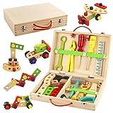 Werkzeugkoffer Kinder Holz Werkzeug Werkzeugkasten Baukasten 34 Stück Rollenspiel Spielzeug Lernspielzeug für 3 4 5 Jahre Alte Jungen Mädchen Kinder
