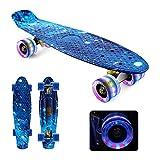 Mini Cruiser Skateboard,HOSWTLY 56cm Kunststoff KomplettBoard ,Retro-Skateboard mit ABEC-7 Kugellager und LED Leuchtrollen ,Skateboard Kickboard für Kinder,Anfänger,Jugendliche