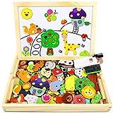 Jojoin Magnetisches Holzpuzzle mit Doppelseitiger Tafel, Holzspielzeug Puzzles Kinder, 110 Stück Tiermuster Pädagogisches Magnetische Holzspielzeug, Kreativ Lernspielzeug für Kinder