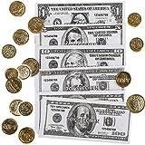 93 TLG. Set - Spielgeld - Dollar - Scheine & Münzen - $ 1 - 5 - 10 - 20 - 100 - Noten Blätter / Bündel - Spielzeuggeld Kaufmannsladen Zubehör Kaufladen - Coin..