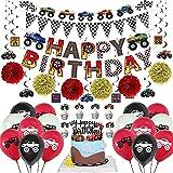Daohexi Monster Truck PartyzubehöR Set, Truck Geburtstag Party Dekorationen Mit Happy Birthday-Bannern, Monster-Truck-Bannern, Luftballons, HäNgenden Strudeln, Tortenaufleger und Cupcake Aufleger