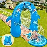 lenbest Wasserrutschen mit Bogen, 500*80cm Wasserrutsche mit 135cm Wasserspiel Bodyboards, Strapazierfähigem PVC-Material Wasserbahn Wasserspielzeug für Draußen Rasen Garten Kinder