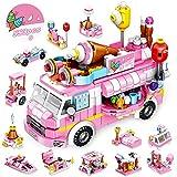 VATOS Eiswagen Bausteine Spielzeug ab 5 6 7 8 9 10 11 12 Jahre für Mädchen, 553 Stück Kreativ Rosa Eiswagen Konstruktionsspielzeug 25-in-1 STEM Baukasten Pädagogisches Geschenk für Kinder
