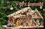 Krippenstall Weihnachtskrippe + Zubehör, NEU MIT BRUNNEN + Holzdeko + Tierfiguren + Stall KS70na-MF-SKR mit hochwertigen PREMIUM