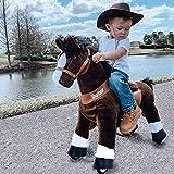 PonyCycle Offizielle Klassisch U-Serie Reiten auf Pferd Spielzeug Plüsch Lauftier Dunkelbraunes Pferd für Alter 4-9 Mittlere Größe U421