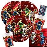 Procos/spielum 44-teiliges Party-Set - Lego Ninjago Teller Becher Servietten + Papiertrinkhalme für 8 Kinder