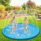 Anpro 170CM Splash Pad, Sprinkler Wasser-Spielmatte Splash Play Matte mit 15 Anti-Rutsch-Streifen, Sommer Garten Wasserspielzeug für Baby, Kinder, Hund und Haustiere