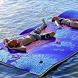 COSTWAY 270x180cm Wasserhängematte, Wasserliege 300kg Tragkraft, Schwimmmatte Schwimmfloß, Schwimmender Teppich, Schwimmende Wasser Bett Schwimminsel (Blau)