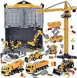 Legierung Baufahrzeuge LKW Spielzeug Set, Engineering LKW Spielset, Spielzeug Baggerlader, Bauwagen, Turmdrehkran, Baustellenfahrzeug für Kinder und Jungen
