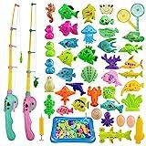 ZWOOS Angeln Spielzeug, 44 Stück Magnetisches Angelspiel Badespielzeug Badewannenspielzeug Wasserspielzeug Badewanne Für Kleinkinder Kindern Spielzeug, Outdoor Spiele Lernspiel Kinder