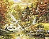 NaiveSun Malen mit Zahlen Kits Forest River Lodge Malen von Zahlen DIY Canvas Ölgemälde Kit für Erwachsene Anfänger Wandkunst Bild Zeichnung-40cm x 50 cm (rahmenlos)
