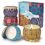 Duftkerze Set Aroma Kerzen 4 Stück Geschenkset, Natürliches Sojawachs Kerze von Frühling frisch, Zitrone, Lavendel, Feigen Düfte, für Mutter Bad Geburtstag Yoga Jahrestag Damen Geschenke