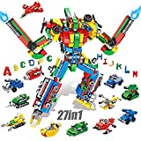 VATOS Bausteine Alphabet Roboter konstruktionsspielzeug für 6 7 8 9 10 Jahre alte Jungen Mädchen - 644 PCS Bausteine Set 27-in-1 STEM Lernen Lernspielzeug Bausatz Geschenk für Kinder