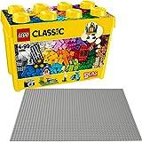 LEGO Classic 2er Set 10698 10701 Große Bausteine-Box + Graue Grundplatte