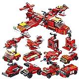 WWEI City Polizei Spielzeug Bausteine, 572 Teile 12 in 1 Feuerwehrflugzeuge Hubschrauber für SWAT Polizeiauto Polizei, Feuerwehrauto Kompatible with Lego